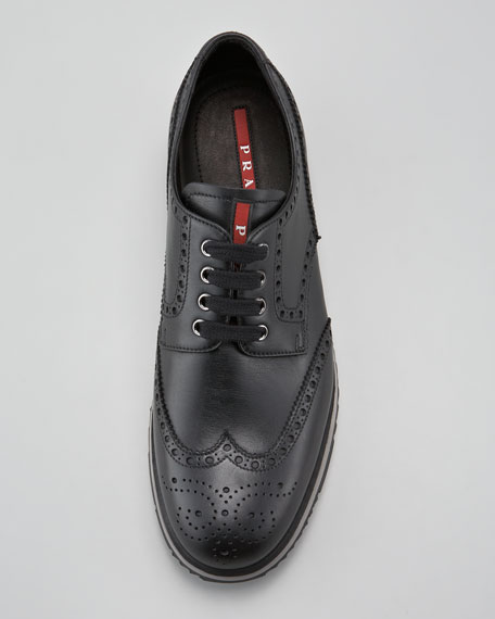Sneaker-Sole Wing-Tip, Black