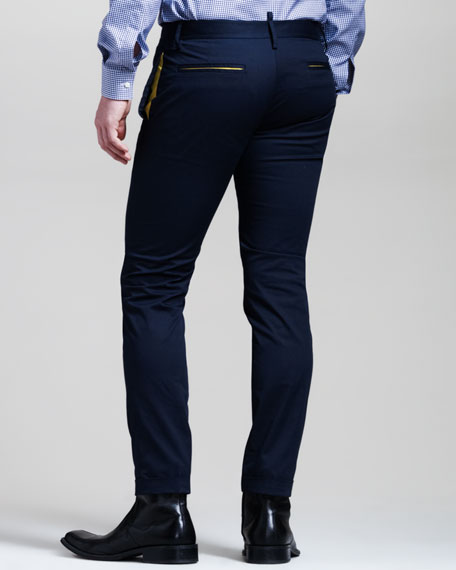 Contrast-Trim Slim Pants
