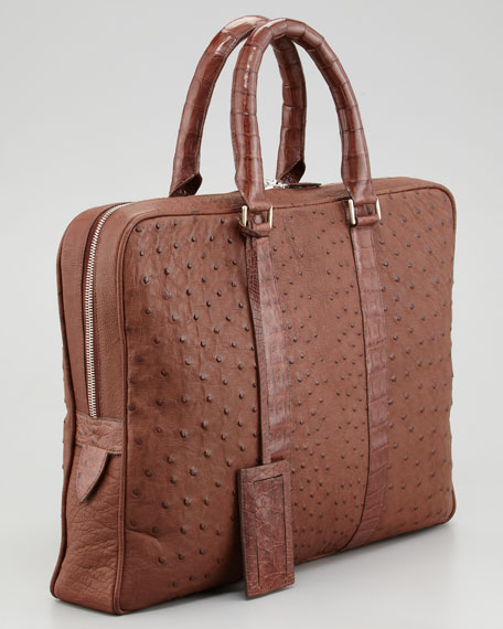 Ostrich & Crocodile Briefcase, Tobacco