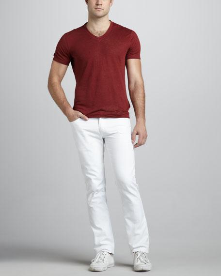 Skull-Rivet White Jeans