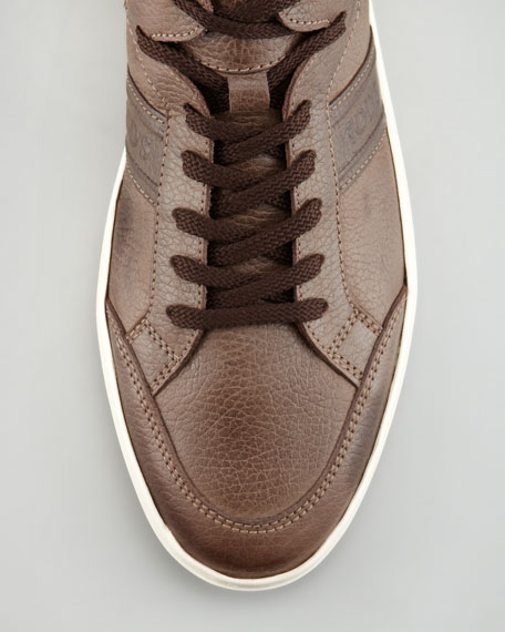 Pebbled Leather Sneaker, Brown
