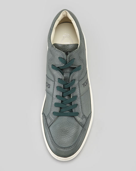 Pebbled Leather Sneaker, Green