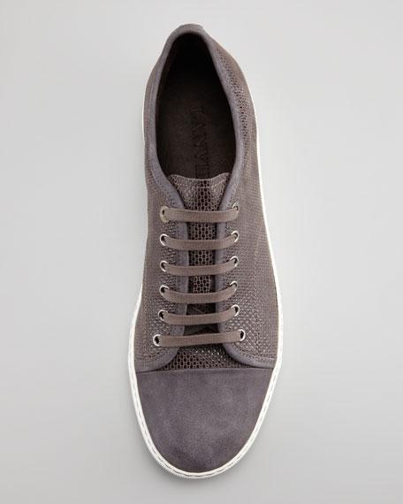 Suede & Lizard-Embossed Sneaker