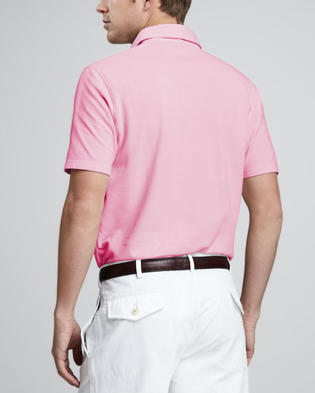 Shiny Pique Polo, Pink