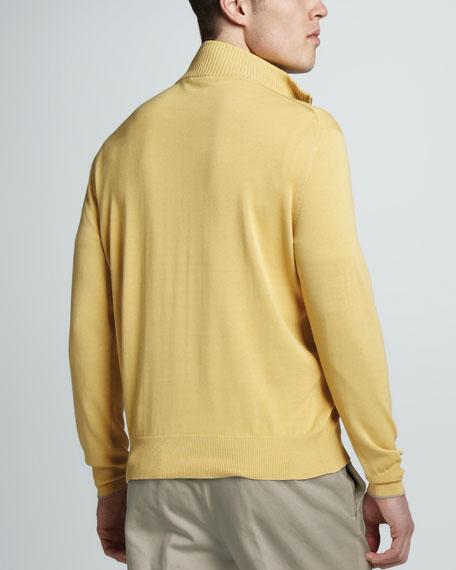 Cotton-Silk Zip Sweater