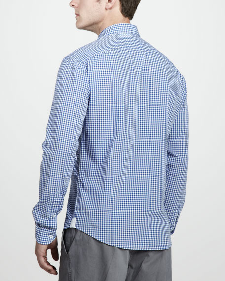 Gingham Sport Shirt, Obscure Blue/White