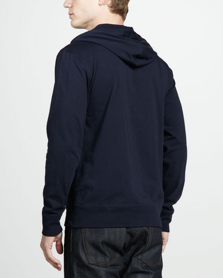 Pullover Jersey Hoodie, Navy Blue