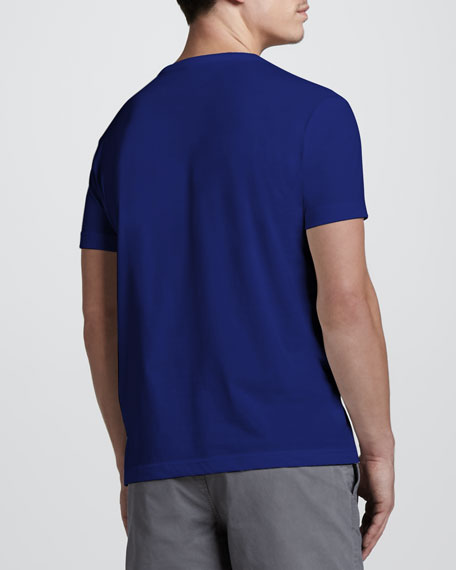 Short-Sleeve Pima Henley, Captain Blue