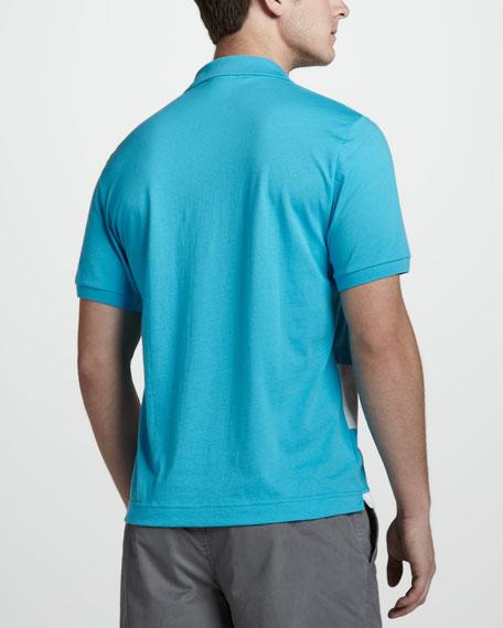 Stripe-Front Jersey Polo, Blue/White