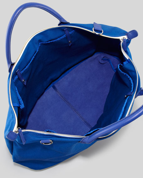 Men's Large Canvas Zip Tote Bag, Blue