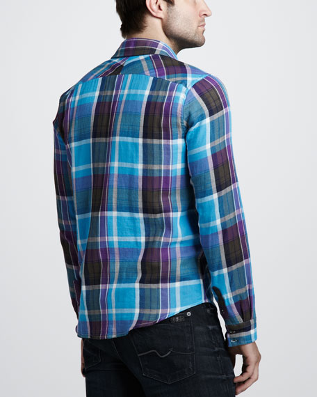 Double-Face Plaid Sport Shirt