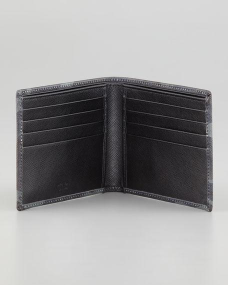 Saffiano Bi-Fold Wallet, Blue Camo