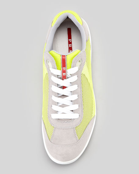 Suede and Mesh Athletic Sneaker, Gray/Yellow