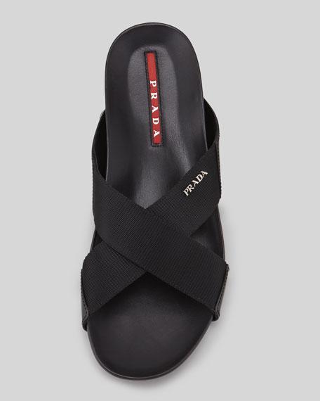 Nylon Crisscross Slip-On Sandal, Black