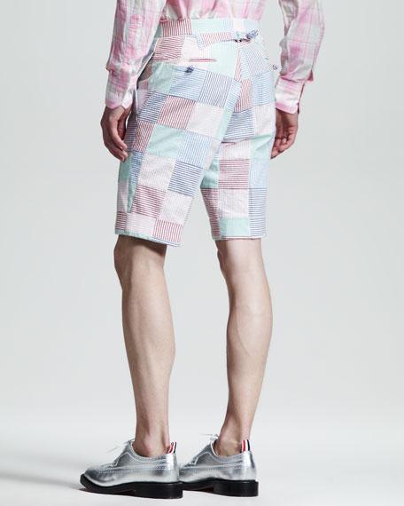 Patchwork Seersucker Shorts