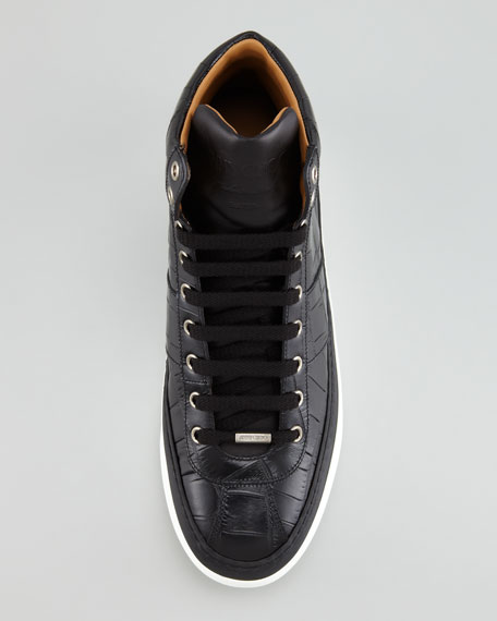 Belgravia Croc-Stamped Hi-Top Men's Sneaker, Black