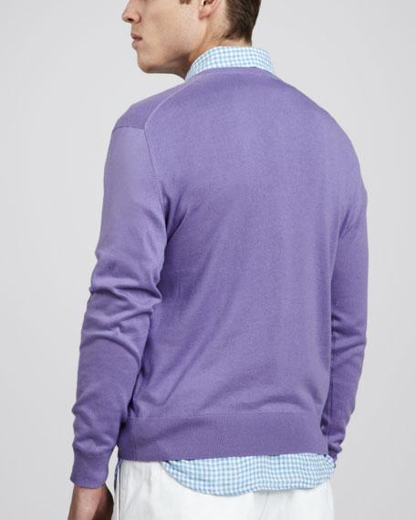 V-Neck Cotton-Cashmere Sweater, Hampton Purple