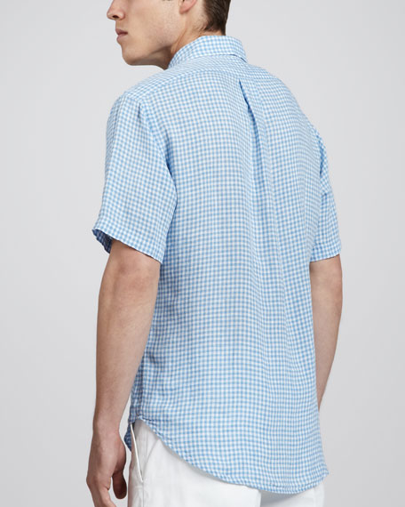 Gingham Short-Sleeve Linen Shirt, Light Blue