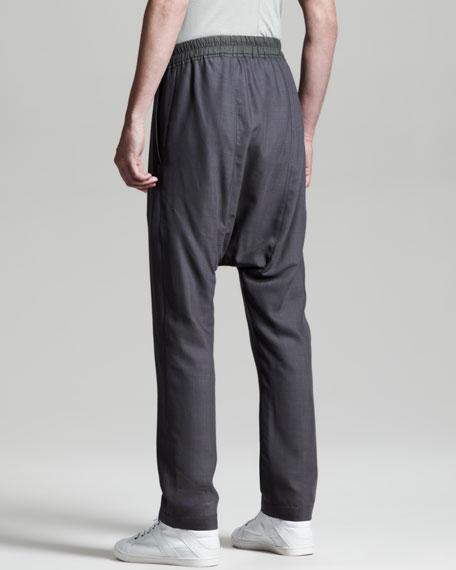 Long Drop-Crotch Drawstring Pants, Dark Dusk