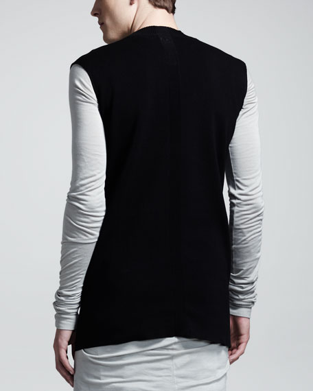 Stripe-Insert Cotton Vest