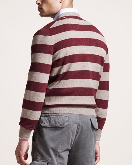 Rugby-Stripe Cashmere Sweater