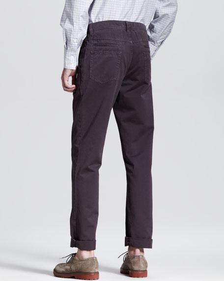 Twill Six-Pocket Pants, Eggplant