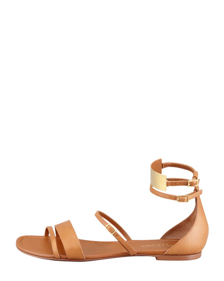 Strappy Flat Leather Sandals, Tan