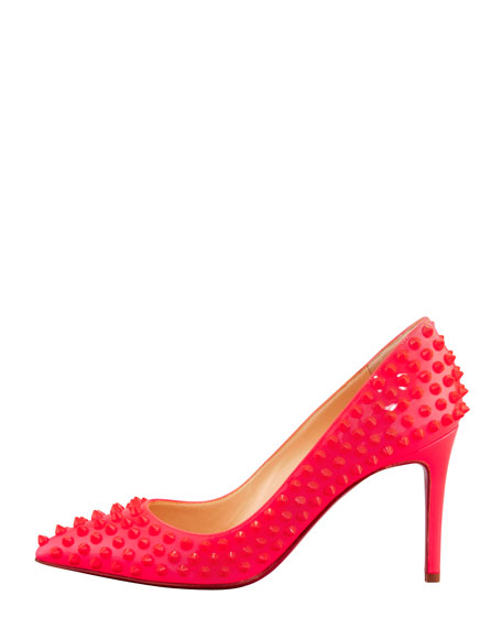 Pigalle Spiked Pointed-Toe Red Sole Pump, Pink
