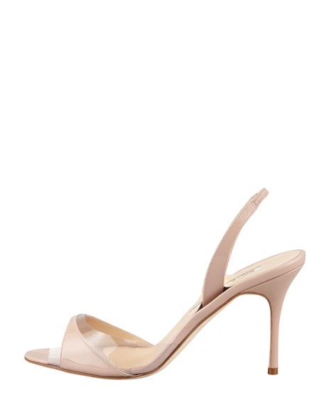 Lucymod Patent-PVC Slingback Sandal, Beige