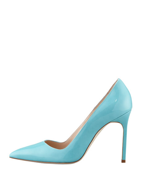 BB Patent Pointed-Toe Pump, Turquoise