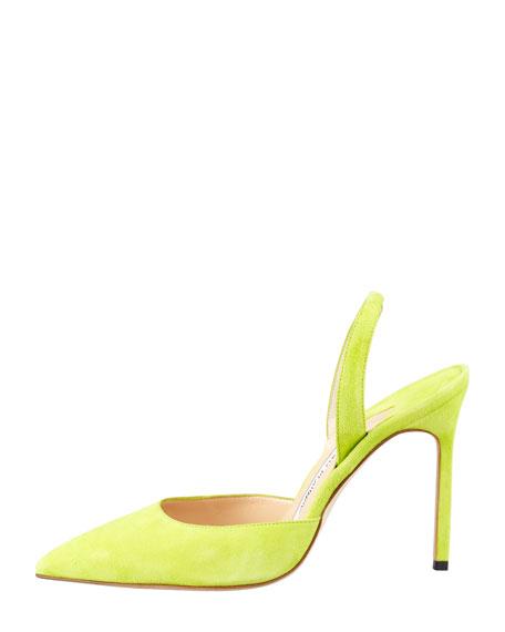 Carolyne Suede High-Heel Halter Pump, Lime Green
