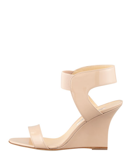 Pepewe Patent Elastic Wedge Sandal, Nude