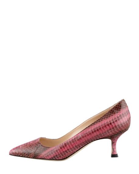 BB Low-Heel Snake Pump, Pink/Brown