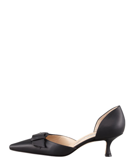 Junonia Leather Low-Heel Buckle-Detail Pump, Black