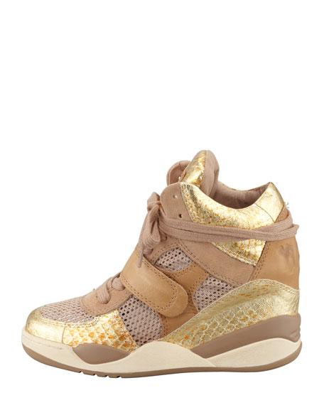 Funky Metallic Hi-Top Wedge Sneaker, Gold
