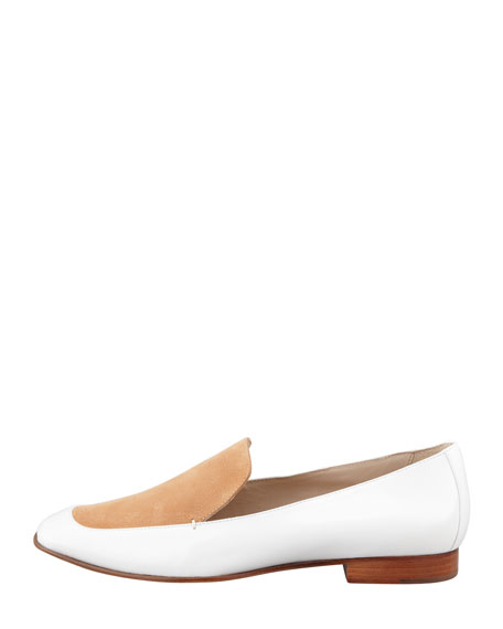 Cassi Leather Loafer, White/Tan