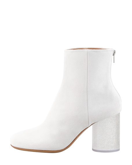 Glittered Lucite-Heel Ankle Boot