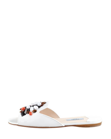 Flat Patent Leather Slide, White