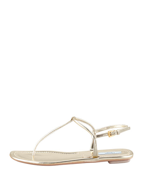 1e3c5dd9762e Prada Flat Metallic Leather Thong Sandal