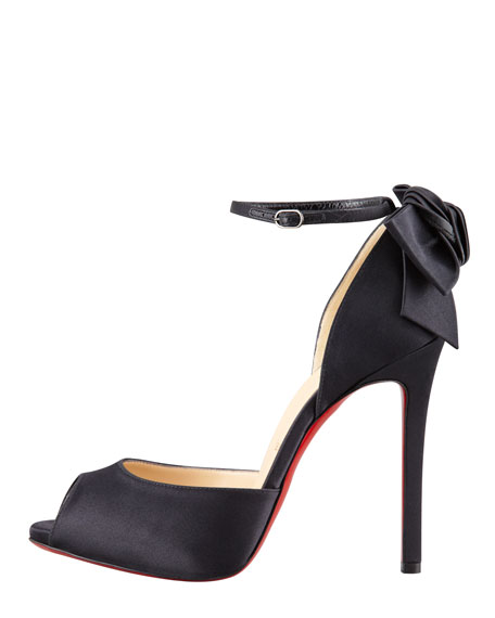Dos Noeud Satin Back-Bow d'Orsay Red Sole Pump