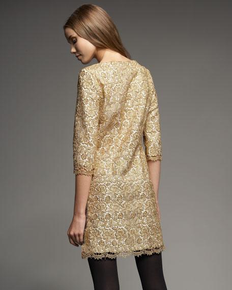 Liana Metallic Lace Shift Dress