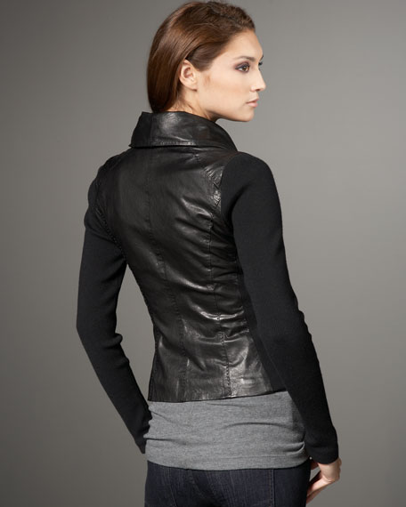 Ribbed-Sleeve Leather Scuba Jacket