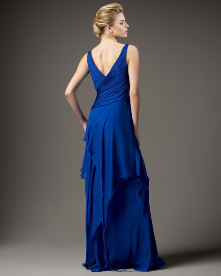 Surplice Tiered-Skirt Gown