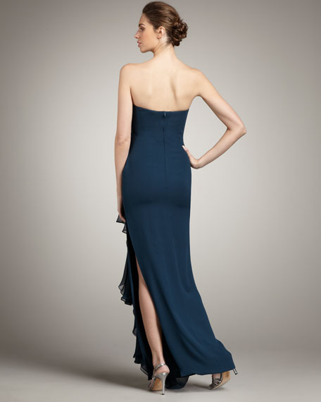 Strapless Crepe & Organza Gown