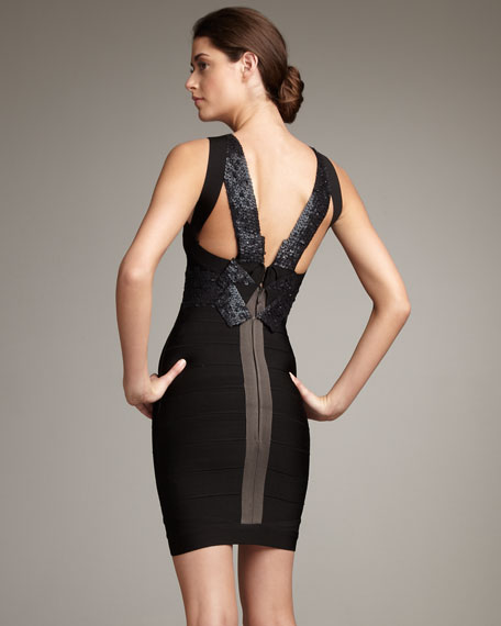 Cross-Neck Sequined Bandage Dress, Black