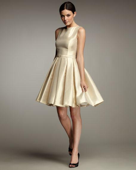 Pleated-Skirt Taffeta Dress