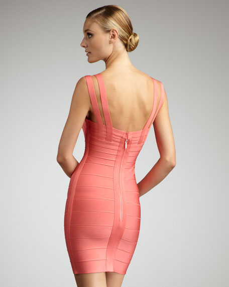 Crisscross-Strap Bandage Dress, Pink Coral