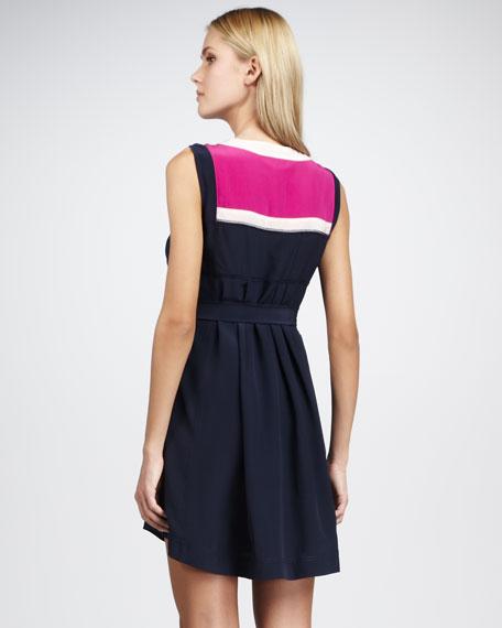 Angie Silk Colorblock Dress