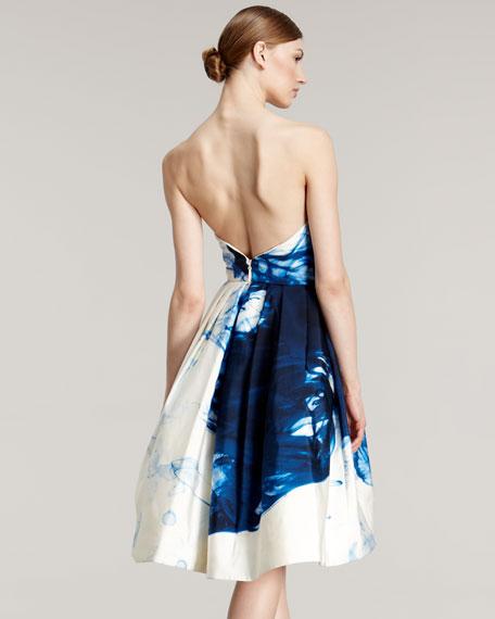 Full-Skirt Swirl-Print Dress