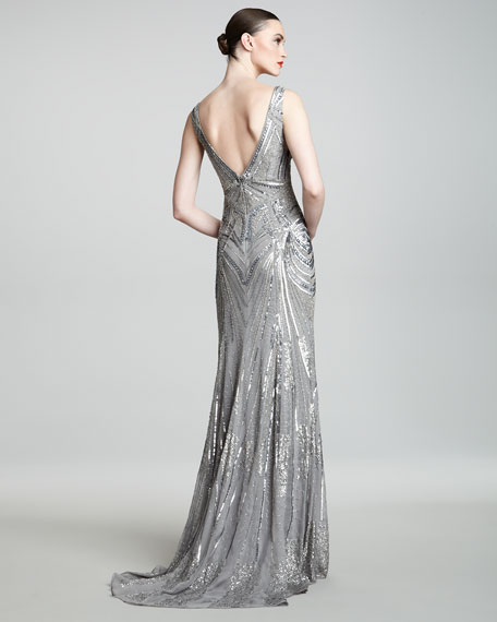 Art Deco Embroidered Gown